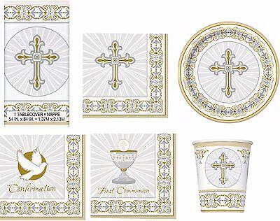 Communion Tableware (Gold Christening Communion Confirmation Tableware Napkins Plates Cups)