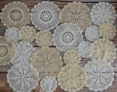 20 Hand Crochet Doilies Lot Country Wedding Table Runners Coasters in bulk
