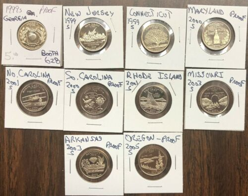 # C2306   PROOF  U.S.  STATE QUARTERS,  LOT OF 10   DIFFERENT DATES