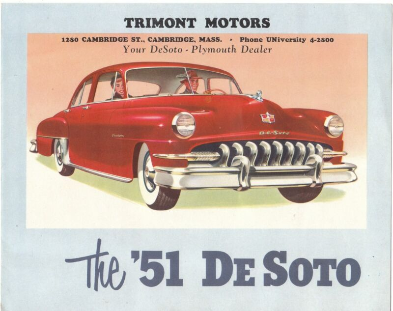 Vintage Automotive advertising Brochure for a 1951 DeSoto from Local Dealer