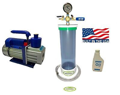 Clear Vacuum Chamber Wood Stabilizer 16 Length X 4 Diameter 3 Cfm Pump.