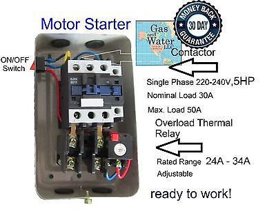 Magnetic Motor Starter Control 5 Hp Single Phase 220240v 24-34a Onoff Button