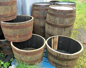 Wooden Barrel Planter Ebay
