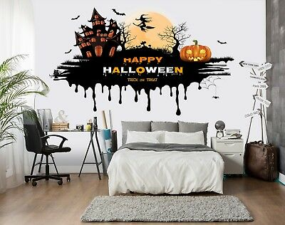 3D Halloween Night 4 Wallpaper Mural Floor Wall Print Decal Wall Sticker UK](Halloween Night Wallpaper)
