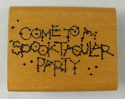 DOTS Halloween Rubber Stamp COME TO MY SPOOKTACULAR PARTY Invitation - Dot To Dots Halloween