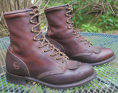 DOUBLE H Brown Leather Western Packer Boots Lace Up Kiltie Roper Womens 8.5W