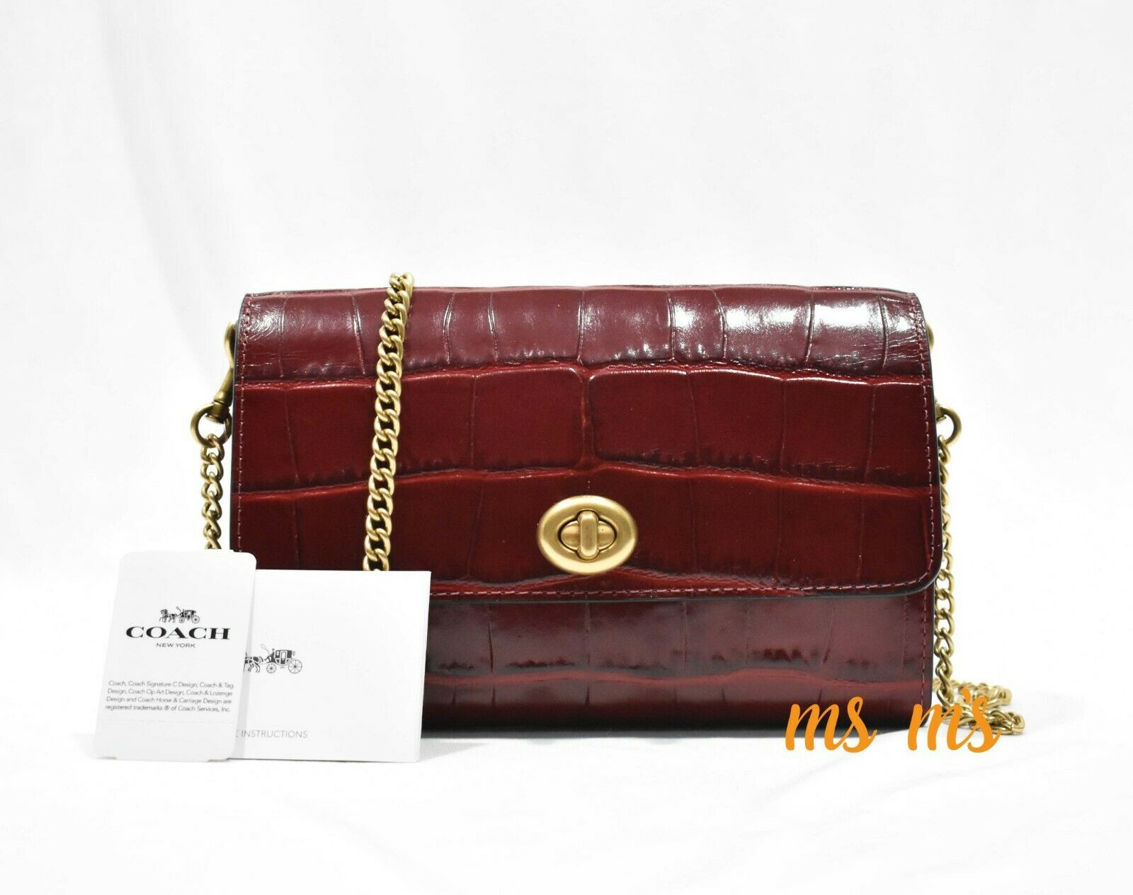NWT Coach 1941 Croc-Embossed Turnlock Chain Crossbody Bag
