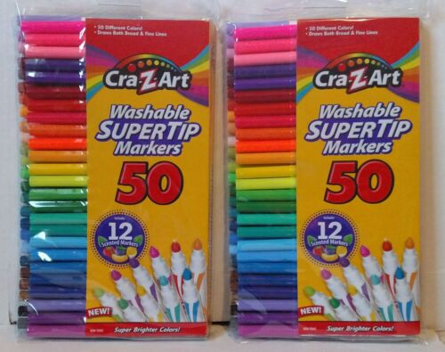 Cra-Z-art Washable Super Tip Markers, 12 Scented, 50 Count (10138) ~ 2 Packs
