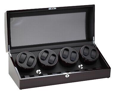 Diplomat 8+9 Watch Winder w/ Storage Ebony Black Wood and Leather Box 31-428