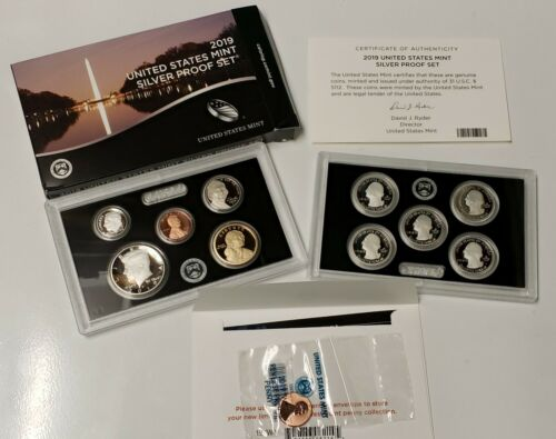 2019-S 10 Coin SILVER Proof Set with OGP and includes the Lincoln Cent