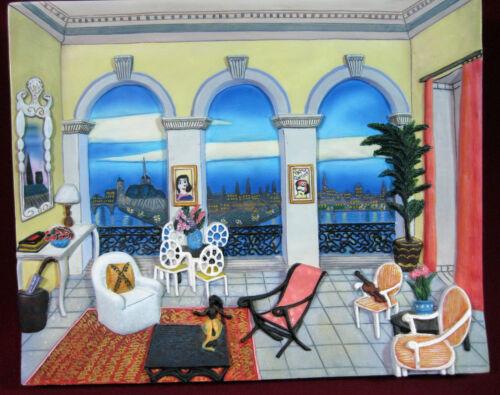 """Reco 1998 Rooms With A View """"Salon Sur La Cite"""" 3D Wall Art, Resin, Ledan, LH1"""