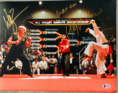 William Zabka Ralph Macchio Gold Signed 11x14 Karate Kid Photo Beckett Witnessed