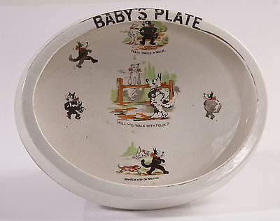Rare Vintage Felix the Cat 1920's Baby's Plate/Bowl by S Johnson, Burslem