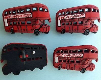 RED BUS England London School Transport Travel Novelty Dress It Up Craft Buttons (Dress Up Transporter)
