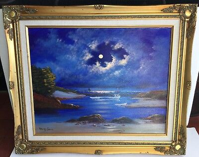 Used, Val McGann, American, Oil Canvas Painting MOONLIT COVE KENNEBUNKPORT MAINE  LotP for sale  Wells