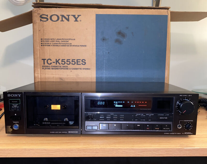 Sony TC-K555ES Tape Deck And Cassette Recorder With Box Tested Very Good