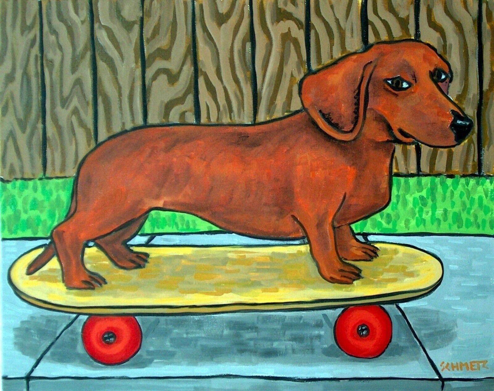 DACHSHUND dog  art PRINT 8x10 gift new animals impressionism
