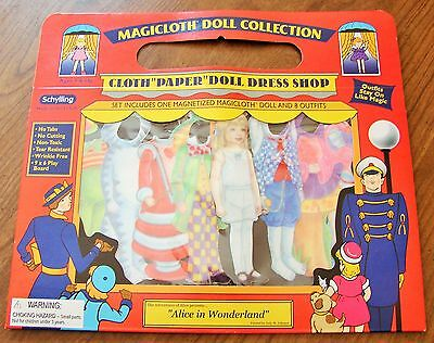 MAGICLOTH ALICE IN WONDERLAND MAGNETIC CLOTH DRESS UP DOLL WITH 8 OUTFITS NEW!