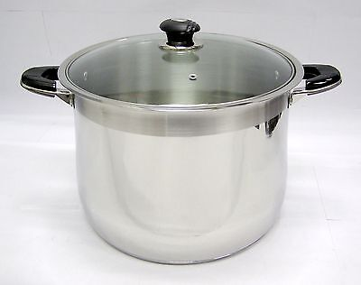 24 qt Quart HD 18/10 Stainless Steel Thick Capsule Base Stock Pot w/ Glass Lid 24 Quart Pot