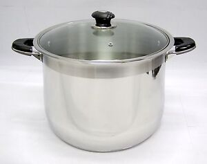 30 qt Quart HD Stainless Steel Thick Capsule Base Tri-Ply Stock Pot w/ Glass Lid