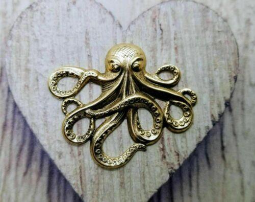 Large Brass Octopus Stamping x 1 - 4920FFA