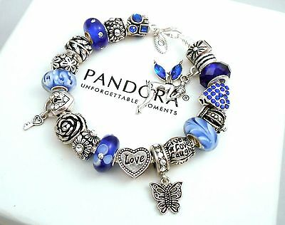 authentic pandora silver charm bracelet with european charms cry