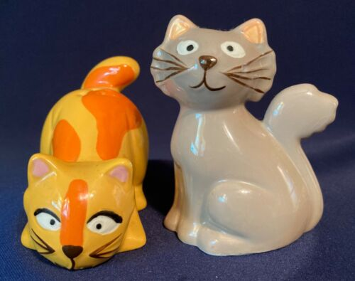 WHIMSICAL CAT SALT and PEPPER SHAKERS - ORANGE and GRAY CATS - NEW!
