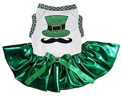 St Patrick's Day Mustache Hat White Top Bling Green Tutu Pet Dog Puppy Dress](Dog St Patrick's Day Clothes)