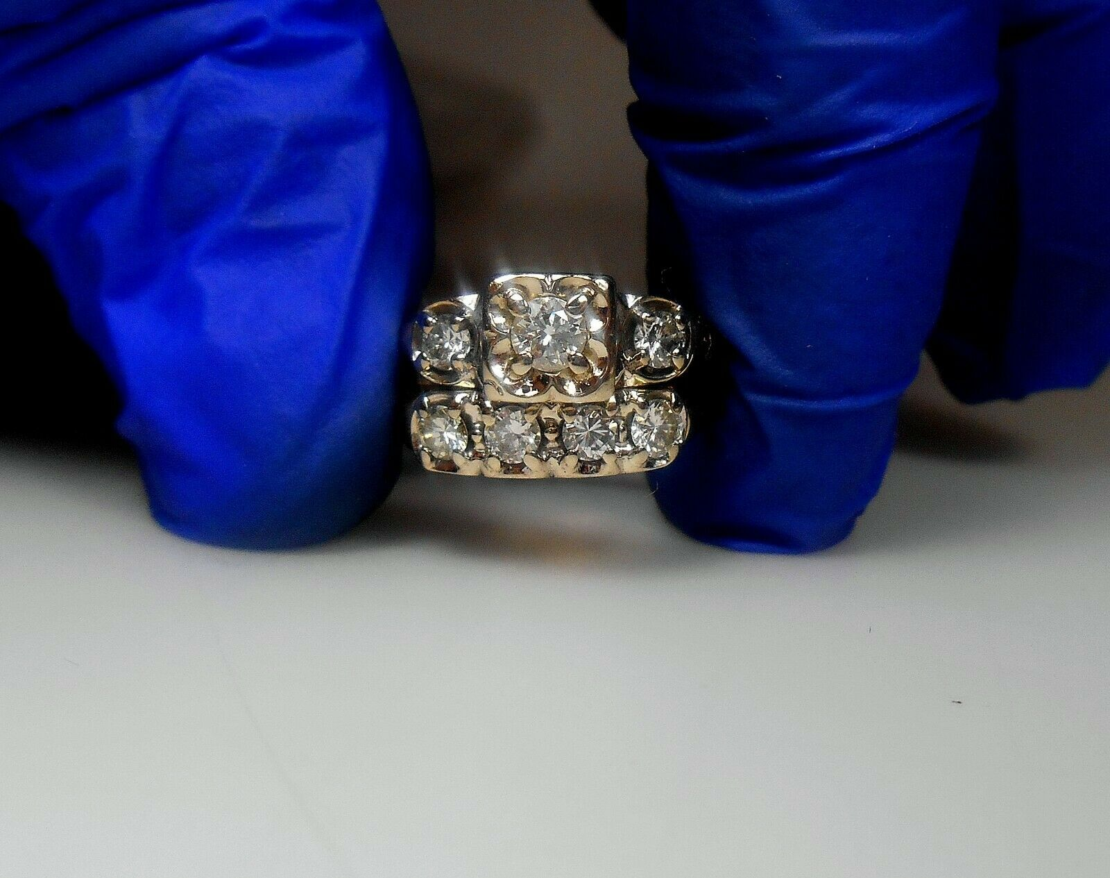 14K SOLID GOLD Antique Art Deco .75ct TW 7 Diamond Wedding Ring Set Sz 7.25 MINT