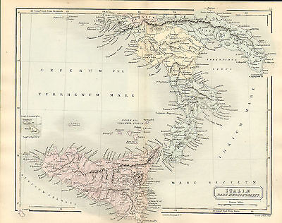 antient geography map by samuel butler 1869 - italiae pars meridionalis