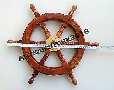 Nautical Brass Boat Wheel Wooden Steering Collectible Antique Christmas Gift ...