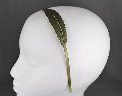 antiqued gold feather leaf Leaves headband hair band greek thin skinny - Gold Feather Headband