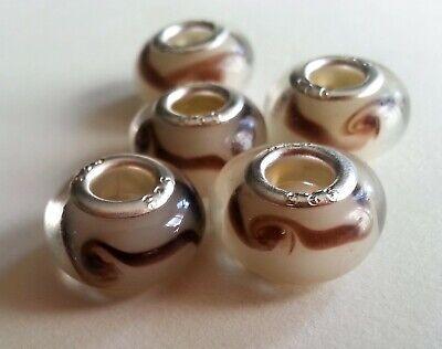 Abalorios espirales en chocolate de murano para pulsera con plata laminada 925