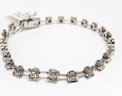 14K White Gold Four Prong in Bezel Cut Diamond Bracelet, Dia 1.80 CT, 25 Stones - Gold Four Prong Diamond Bracelet