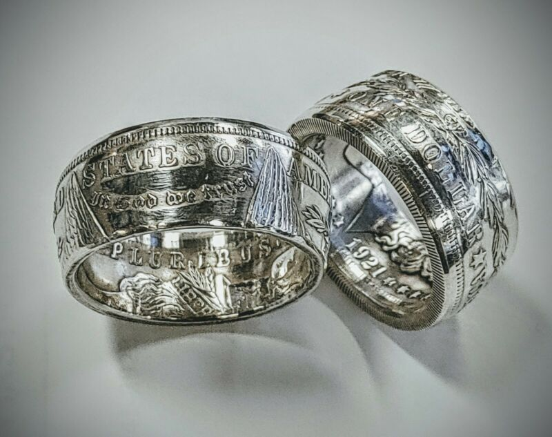 1921 Morgan Silver Dollar Coin Ring sizes 8-17 (handcrafted from a Real Coin