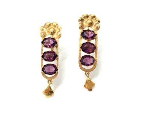 Antique Art Nouveau Dutch 14ct Rose Gold Faux Amethyst Pendant Earrings