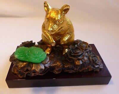 Collectable Vintage Gold gilt Rat+bronze flower office gift by RISIS