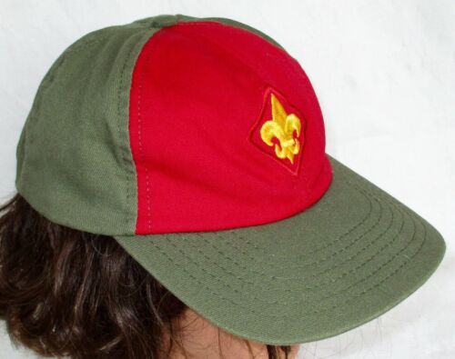 BSA Boy Scout of America Hat Cap Olive Green Red Twill Gold Logo Snap Back S/M