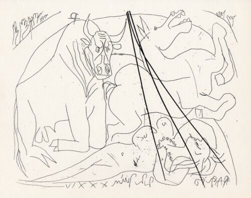 Pablo Picasso, Dying Bull Kneeling Before a Dead Nude Woman, Vollard Suite