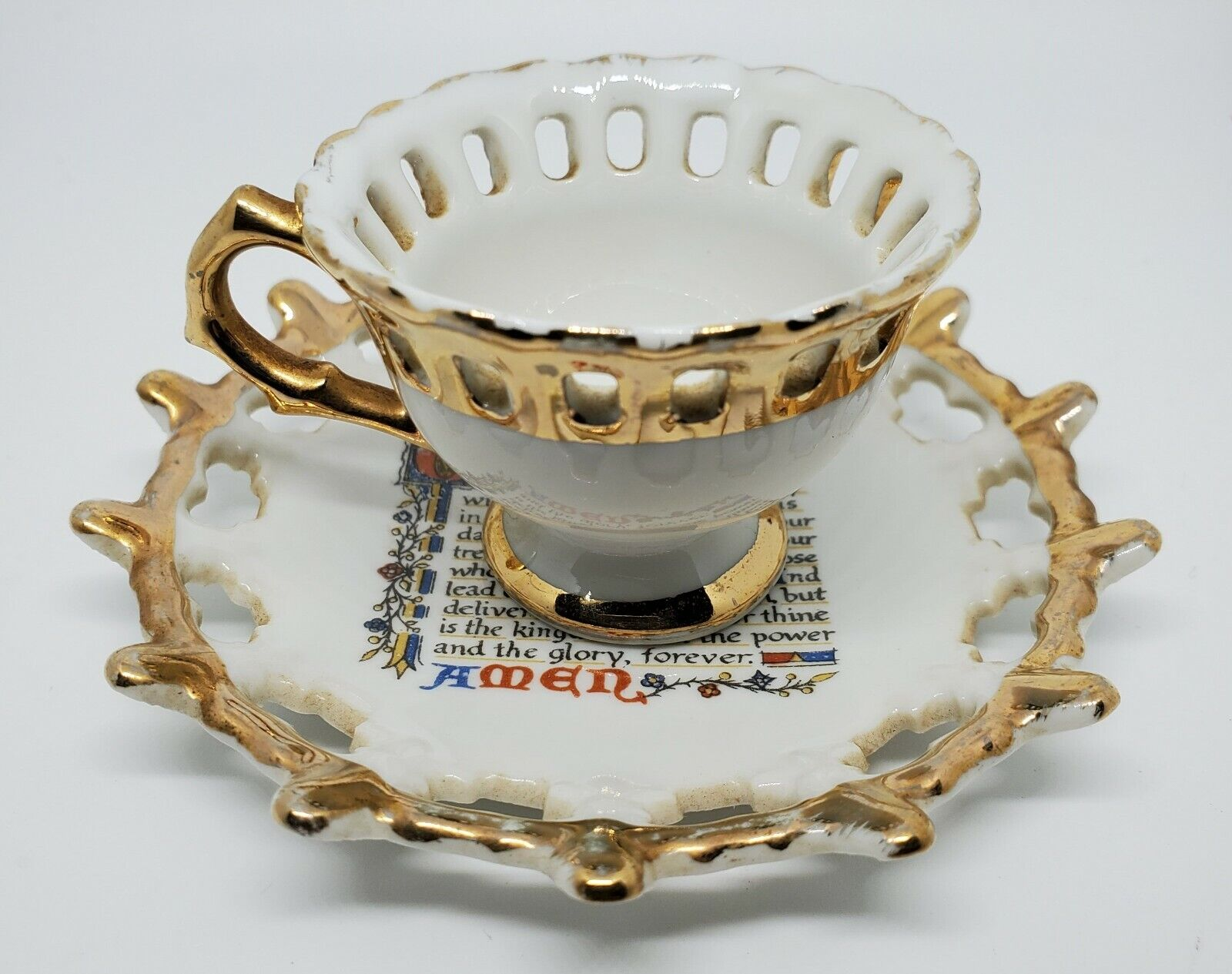 Miniature Reticulated Edge Tea Cup/Saucer, Gold Gilt With Lords Prayer-Vintage - $13.99