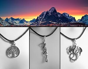 Lord-of-the-Rings-Thong-Necklace-Middle-earth-White-Tree-of-Gondor-Silver-Dragon