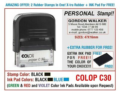 Traxx Self Inking Rubber 2 Stamps Personal Business Rubber Ink Pad For Free