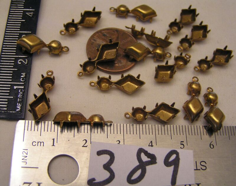12 Vtg Brass 10x7mm Diamond Shape & 4mm Drop rhinestone Setting Jewelry Findings