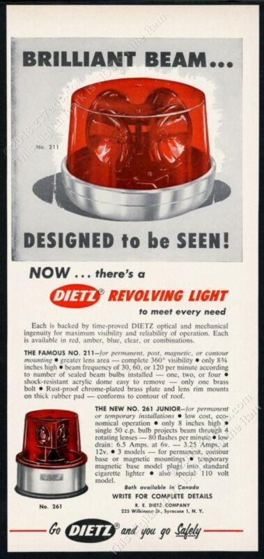 1962 Dietz 211 261 revolving light fire engine cop car vintage trade print ad