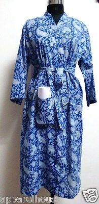 Hippie Print Robe (Indian Hand Block Print Cotton Kimono Robe Hippie Bath Robe Intimate Nightwear)