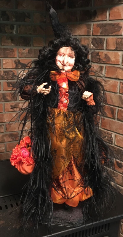 """Halloween TALL """"Glam"""" Witch on Stand 27"""" ~Whimsy Decor ~ Orange Black Web Dress"""