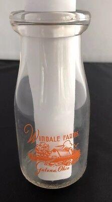 Windale Farms Half Pint Pyro Milk Bottle Ohio Dairy Farms Glass Round Bottom](Glass Milk Bottle)