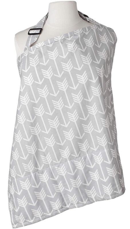 Nursing Breastfeeding Cover - Built-In Burp Cloth - Carry Bag - Grey Arrows