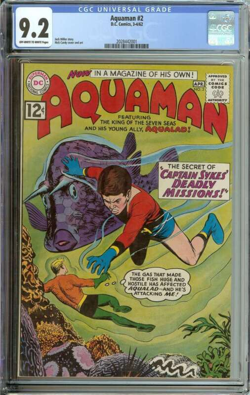 AQUAMAN #2 CGC 9.2 OW/WH PAGES