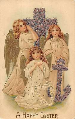 Easter Angels Praying around Flowered Cross Religious Antique Postcard L1069